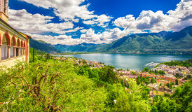 View to Locarno city, lake Maggiore and Swiss Alps in Ticino from Madonna del Sasso Church, Switzerland. Stock Images
