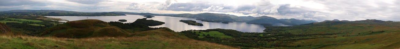 Panorama of Loch Lomond stock image