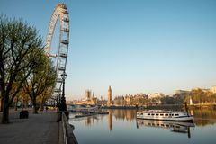 A view to London Eye, Big Ben and Thames River early in the morning Royalty Free Stock Photos