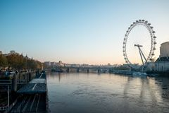 View to London Eye and Thames river from Westminster Bridge early in the morning Stock Photos