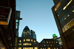 View to London skyscrapers of the City at dusk. Royalty Free Stock Image