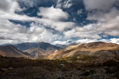 View to Lower Mustang area on Annapurna circuit trek in Nepal Stock Photography