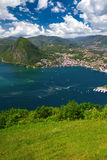 View to Lugano city, Lugano lake and Monte San Salvatore from Mo Royalty Free Stock Photo