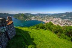 View to Lugano city, Lugano lake and Monte San Salvatore from Mo Stock Photography