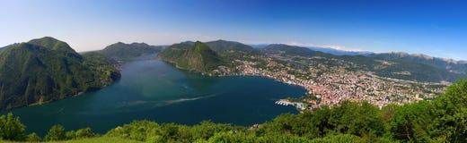 View to Lugano city, Lugano lake and Monte San Salvatore from Mo Stock Photo