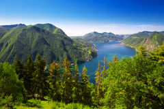 View to Lugano city, Lugano lake and Monte San Salvatore from Mo Royalty Free Stock Photos