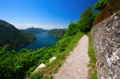 View to Lugano city, Lugano lake and Monte San Salvatore from Mo Stock Image