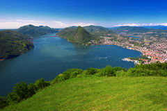 View to Lugano city, Lugano lake and Monte San Salvatore from Mo Royalty Free Stock Image