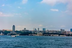 View to the luxury palace Dolmabahce on the coastline. In city of Istanbul royalty free stock photos