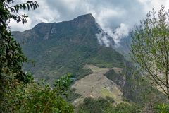 View to Machu Picchu from Hayna Picchu mountain royalty free stock photo