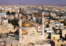 View to Madaba Mosque. A view over the town center of Madaba in Jordan with the Central Mosque Royalty Free Stock Photos
