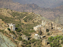 View to Manakha fortress and old city and terrace farming, Yemen. View to Manakha fortress and old city and terrace farming in Yemen Stock Images