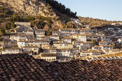 Scenic view of  Berat. View to Mangalem quarter in Berat, historic city in the south of Albania, during a sunny day. White stone houses built on a high hill one Stock Photography