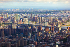 View To Manhattan Bridge In Late Stock Image