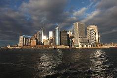 View to Manhattan sky scrapers from water. New York, USA Royalty Free Stock Photos
