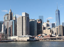 View to Manhattan from water. NY, USA stock images