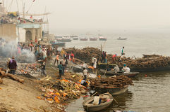 View to Manikarnika Ghat on Ganges river, Varanasi Royalty Free Stock Images
