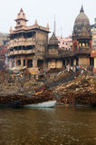 View to Manikarnika Ghat on Ganges river, Varanasi Royalty Free Stock Images