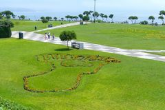 Park in Miraflores District in Lima, Peru. The plants evoke the famous Nazca lines. royalty free stock photo