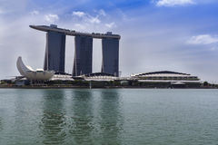 View to Marina Bay Sands Resort and ArtScience Museum. Royalty Free Stock Image