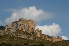 View to the medieval castle Loarre in Aragon province. Spain Royalty Free Stock Photos