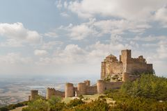 View to the medieval castle Loarre in Aragon province. Spain Royalty Free Stock Photography
