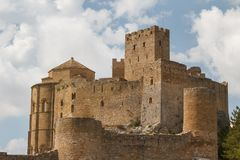 View to the medieval castle Loarre in Aragon province. Spain Stock Photography