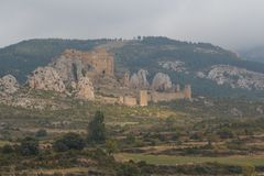 View to the medieval castle Loarre in Aragon province. Spain Stock Image
