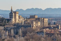View to the medieval popes palace in Avignon. France Royalty Free Stock Photos