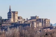 View to the medieval popes palace in Avignon. France Stock Image