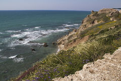 View to Mediterranean sea from Apollonia. Ruins of crusaders fortress at Apollonia national park, Israel Royalty Free Stock Photos