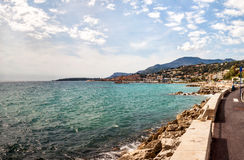View to Menton on French Riviera, Cote d`Azur, France Stock Photo