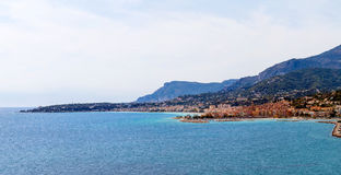 View to Menton on French Riviera, Cote d`Azur, France Royalty Free Stock Photography