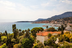 View to Menton on French Riviera, Cote d`Azur, France Royalty Free Stock Photo