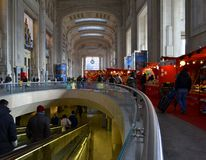 View to Milan Central railway station external gallery. Stock Photo