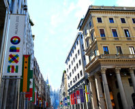 View to Milan central Vittorio Emanuele street prepared for expo 2015. Stock Images