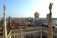 View to Milan centre from Duomo panoramic viewpoint. Royalty Free Stock Photography