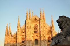 View to Milan Duomo and lion's head in sunny day. Royalty Free Stock Image