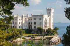 A view to Miramare castle. Italy Stock Photography