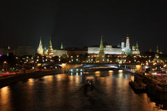 View to the Mocsow Kremlin. Night view from the bridge to the Moscow Kremlin Stock Photos
