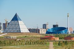 View to the modern architecture buildings in Astana, Kazakhstan. Royalty Free Stock Photo