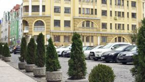 View to modern facade of building and fashionable expensive cars in parking lot royalty free stock photos
