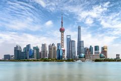 View to the modern skyline of Pudong, Shanghai, China Stock Images