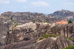 View to  Monastery and observation deck on rock. Meteora, Greece Stock Image