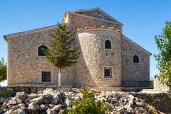 View to monastery of transfiguration of Christ at Pantokrator mo. Untain, Corfu, Greece Royalty Free Stock Photos