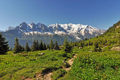 View to Mont Blanc, Alps mountain, France Stock Photography