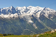 View to Mont Blanc, Alps mountain, France Royalty Free Stock Images