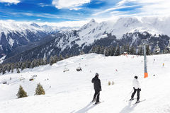 View to Montafon valley from Golm ski resort, Austria Stock Photo