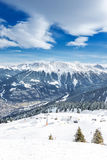 View to Montafon valley from Golm ski resort, Austria Royalty Free Stock Photography