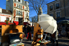 View to Montmartre painting space. Royalty Free Stock Image